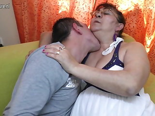 Real aged granny sucking a firm young load of shit