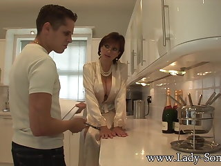 Lady Sonia gives young employee blowjob facial cumshot
