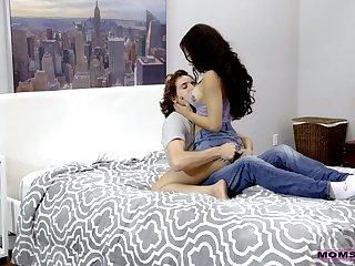 Hot stepmom Maya Bijou helps stepson to fuck sexy go steady with